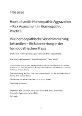Title page How to handle Homeopathic Aggravation – Risk